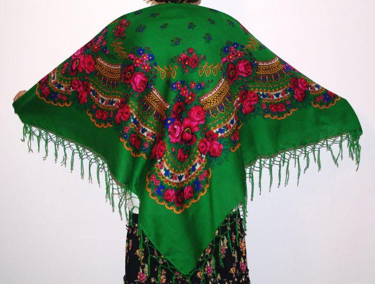 Huge green shawl with fringes Pavlovo Posad shawl Vintage Russian Shawl/ Ukrainian Shawl Folk Scarf with Tassels / Flowers Roses Bohemian by VintagePolkaShop on Etsy
