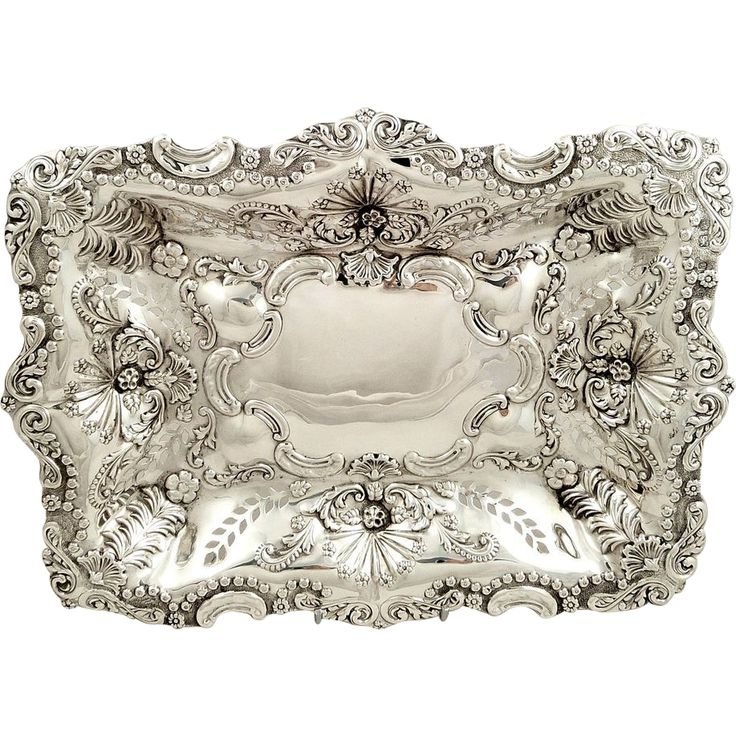 """Antique Victorian Sterling Silver 11"""" x 8"""" Pierced Dish 1899"""