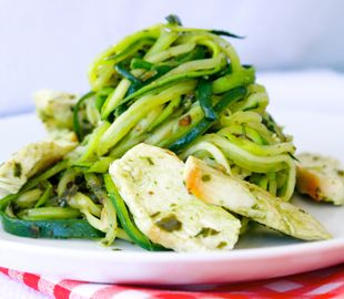 Here's an easy low carb, paleo recipe using zucchini noodles aka zoodles and served with dairy free pesto and chicken. Yum! Get the full recipe here: http://www.livelovenourish.com.au/recipes-listing/pesto-zucchini-pasta-with-chicken?category=/recipes-categories/dinner