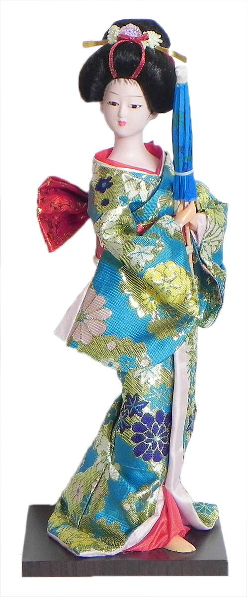 Japanese Geisha Doll in Cyan Blue with Weaved Golden Design Kimono Dress Holding Umbrella (Cloth, Clay, Plastic and Thermocol)