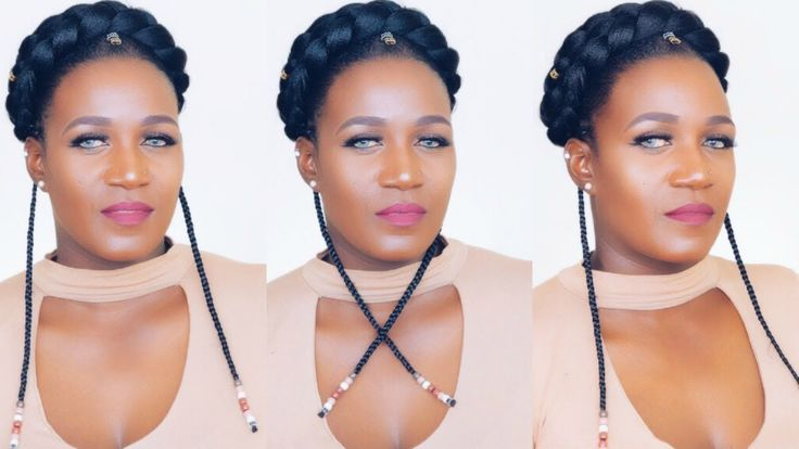 TRIBAL FAUX HALO BRAID IN 10 MINUTES 4C NATURAL HAIR - https://blackhairinformation.com/video-gallery/tribal-faux-halo-braid-10-minutes-4c-natural-hair/