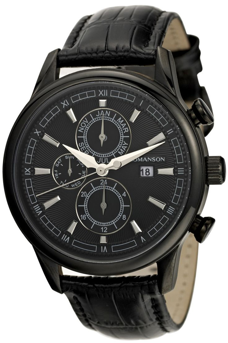 Timepiece Theatre - TL1245BM1BA32W - Romanson Black Swiss Quartz Men's Watch with Chronographed Week Day, Month, and Military Hour