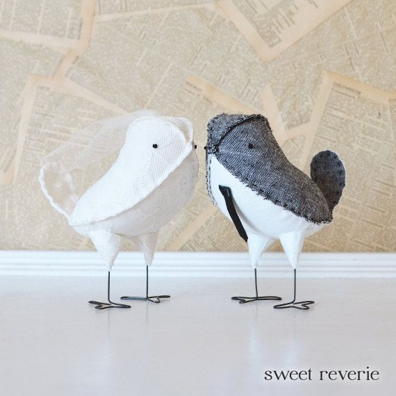 Design Your Own Wedding Cake: Custom Wedding Cake Topper Fabric Love Birds With Veil And
