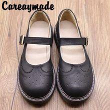 Careaymade-2018 rétro T-type boucle ceinture tête ronde chaussures simples, couche Supérieure en cuir Véritable fond mou évider étudiant chaussures(China)