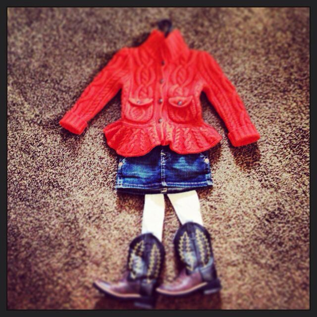 Toddler girl Thanksgiving Day outfit. Pumpkin orange Ralph Lauren wool equestrian sweater, True Religion indigo denim mini skirt, ivory cable knit tights and cowgirl boots!