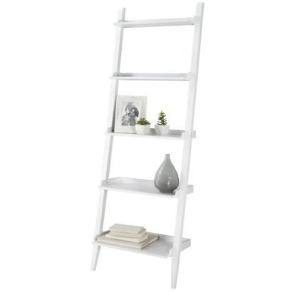 Carson Space Saver Leaning Bookcase - White - Shelves: 5 Maximum Shelf Weight Capacity: 45.0 Lb. Accessories Included: Anchors Maximum Weight Capac… | Pinterest
