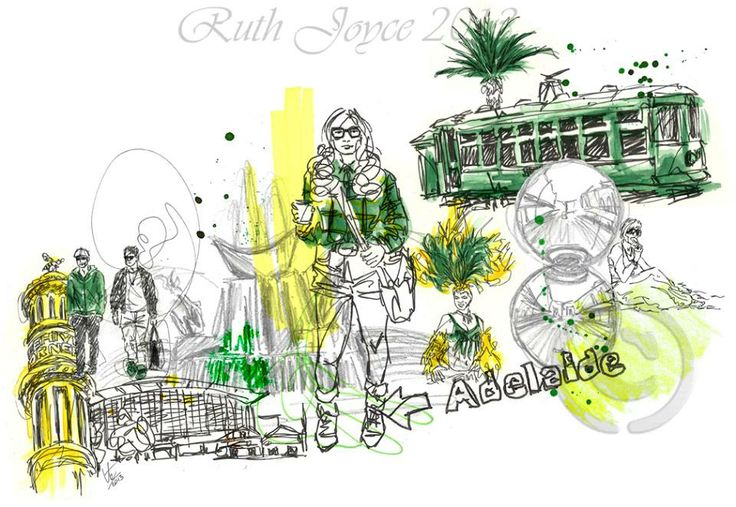 A collage #illustration of #Adelaide #australia #art #yellow #green #city #ruthjoyceart