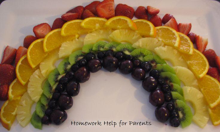 Rainbow fruit platter - Strawberries, oranges, pineapple, kiwi fruit, blueberries and cherries! Yum!