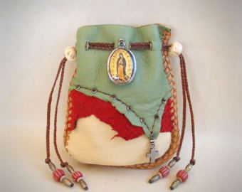 NEW MEXICO SKY medicine bag / spirit pouch Deerskin Leather