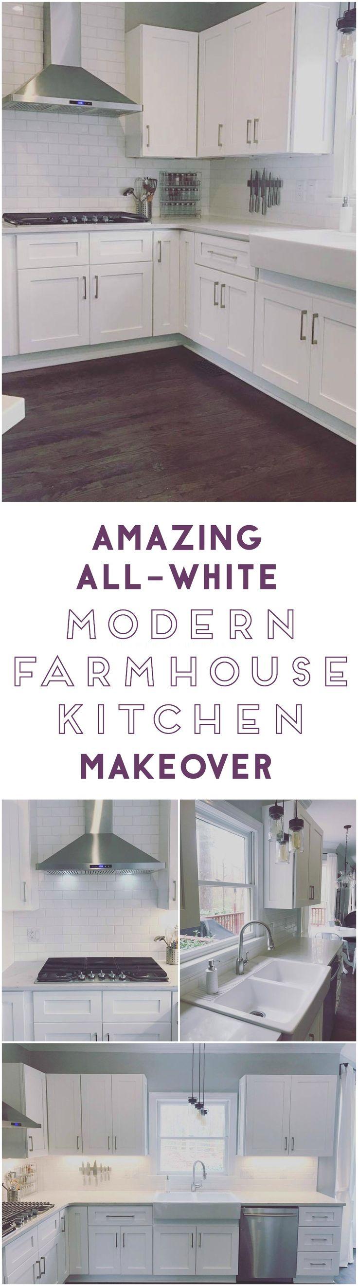 all white modern farmhouse kitchen makeover
