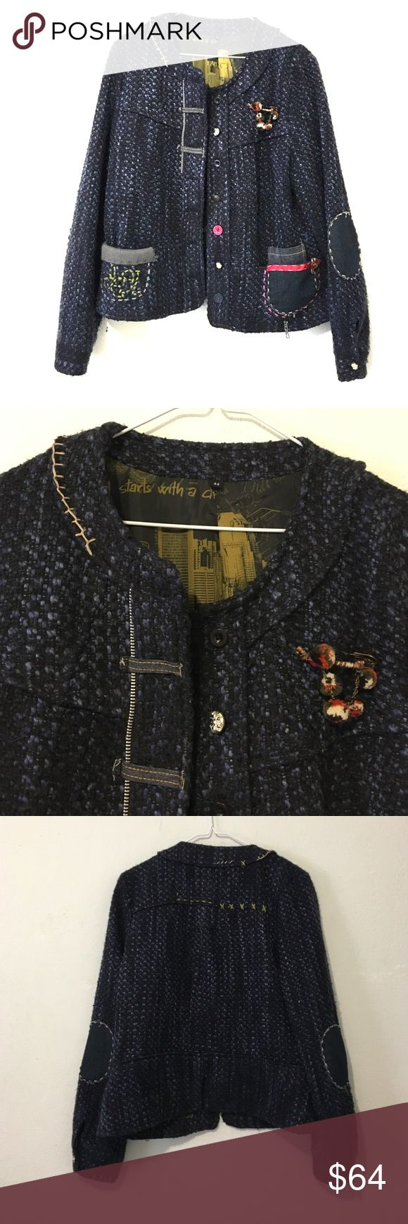 Desigual Blue Knit Button Up Jacket Size 44 (EUR) - Size 12 (US) - Recommended: Medium - Purchased in Barcelona, Spain - In Excellent condition - Offers welcome :) Shoulder to shoulder: 16 in // Length: 24 in Desigual Jackets & Coats