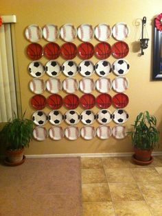 Back drop for the sports classroom decor theme! Just buy various plates at the dollar store and put them on the wall. You have an instant backdrop! {broken link, just a picture}