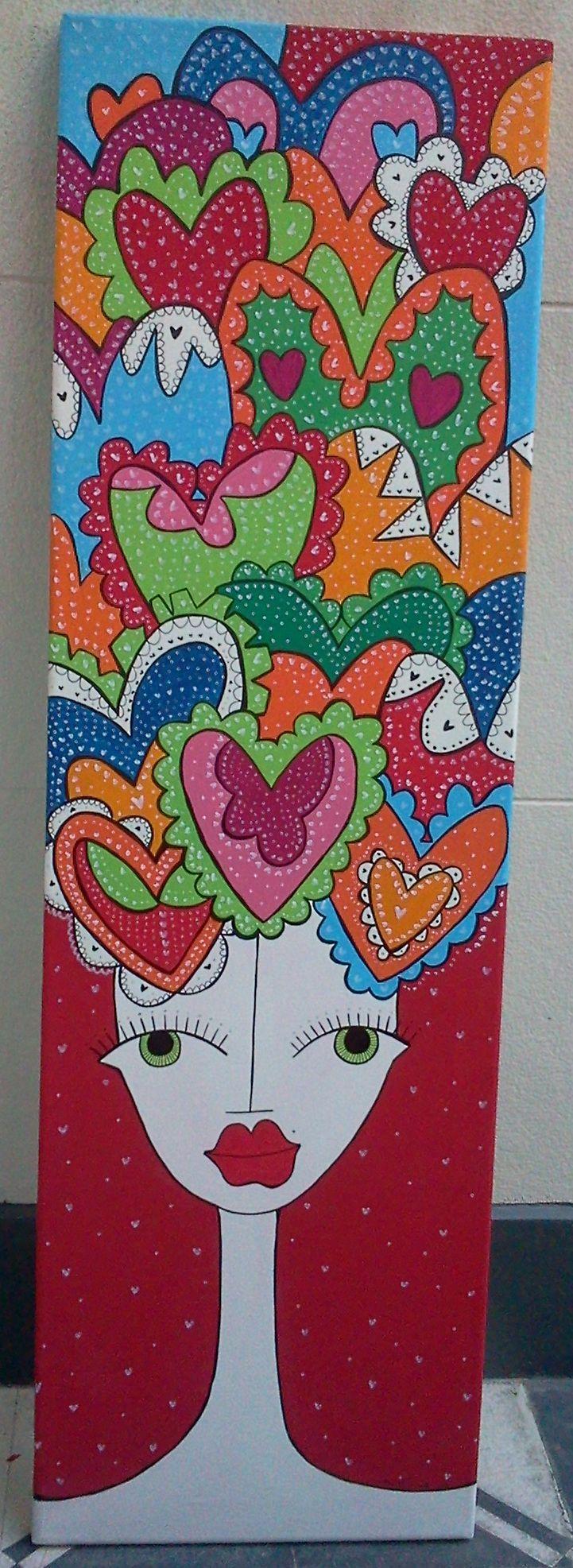 Cuadro pintado en acrílico, $650 en https://ofeliafeliz.com.ar
