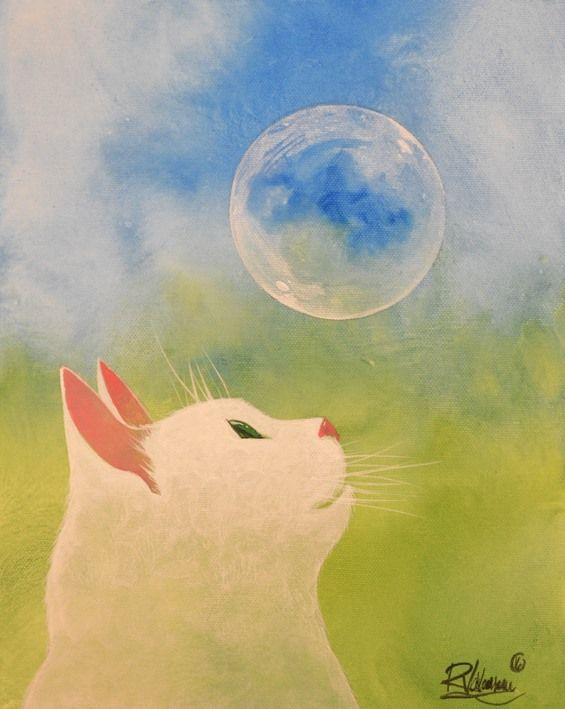 """Artiste : Raphaël Vavasseur. The Original Painting """" BUBBLE CAT """" is available now: http://ift.tt/1dFMdtx La Peinture Originale """" CHAT BULLE """" est disponible: http://ift.tt/1QcDD3D Fine art print: http://ift.tt/1SRhXy6"""