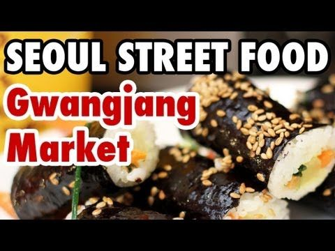 Seoul Street Food at Gwangjang Market. Kimali twikim recipe. (Glass noodles in seaweed battered  deep-fried)
