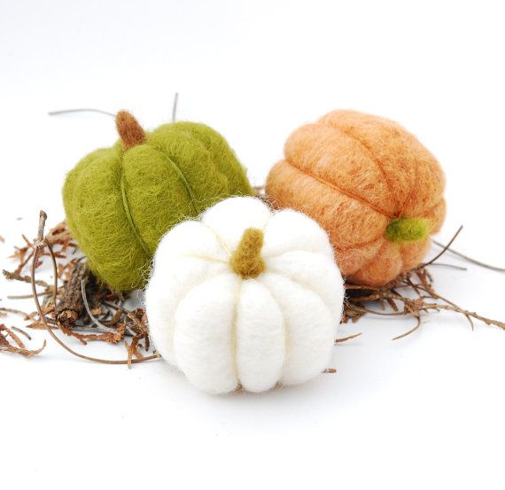 Needle Felted Pumpkins orange green white autumn fall thanksgiving halloween harvest eco friendly decor by Laura of Feltjar on Etsy.