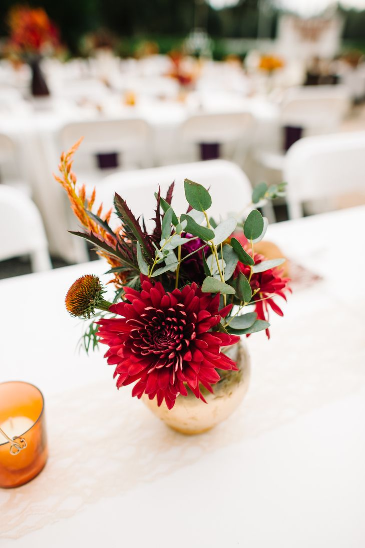 Low red dahlia and eucalyptus centerpieces photo best