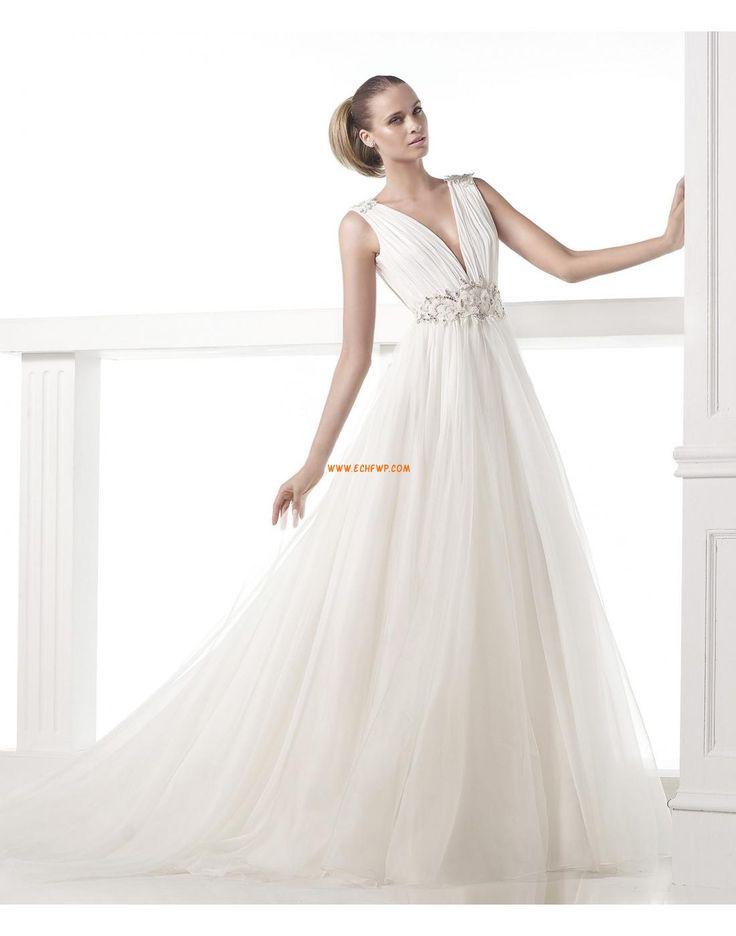 Áčkový střih Výstřih do V Elegantní & luxusní Svatební šaty 2015
