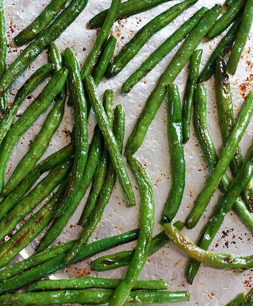 recipe for roasted green beans, simple, fast delish. Linked w/in blog from skinny taste.