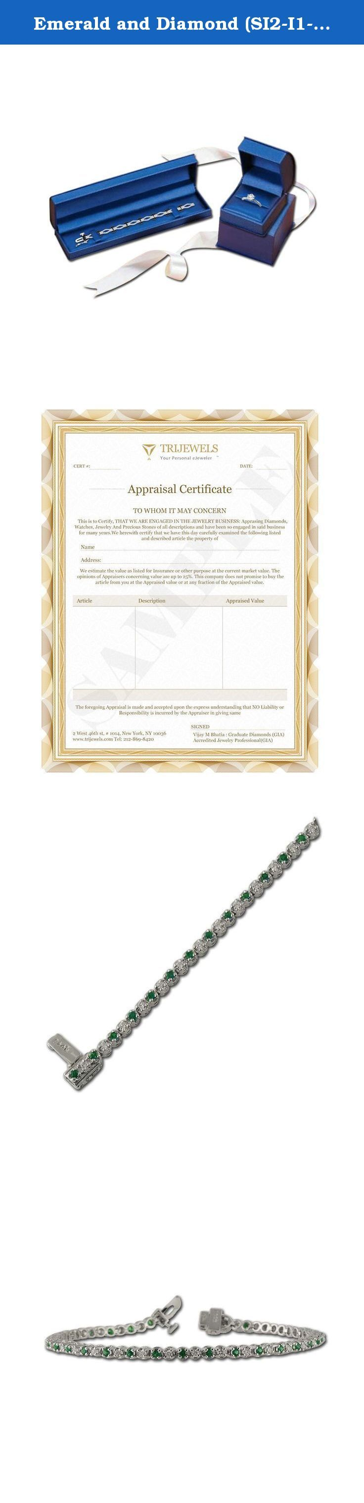 Emerald and Diamond (SI2-I1-Clarity, G-H-Color) Tennis Bracelet 1.32 ct tw in 14K White Gold. This is a Beautiful 1.32 ct tw Tennis Bracelet with 0.66 ct tw Diamond (SI2-I1-Clarity, G-H-Color) & 0.66 ct tw Emerald (I1-I2-Clarity, Green-Color) in 14K White Gold.There are total 33 Round Diamond & 33 Round Emerald which are beautifully set using Prong Setting.The Length of the Bracelet is 7 Inches.This Bracelet has Round Diamond & Emerald of 1.8 mm each.The birthstone of April Diamond…