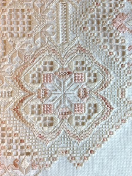 Ivory Blush - Hardanger with a bit of bargello worked in.