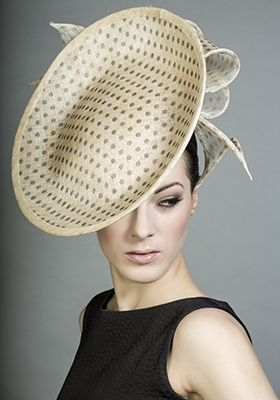 Rachel Trevor - Morgan Millinery - Natural spot disc with straw rolled loops. #passion4hats