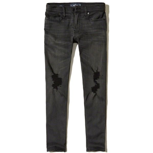Hollister Skinny Jeans ($25) ❤ liked on Polyvore featuring men's fashion, men's clothing, men's jeans, ripped black, mens ripped jeans, mens ripped skinny jeans, mens skinny fit jeans, mens stretchy jeans and mens super skinny ripped jeans