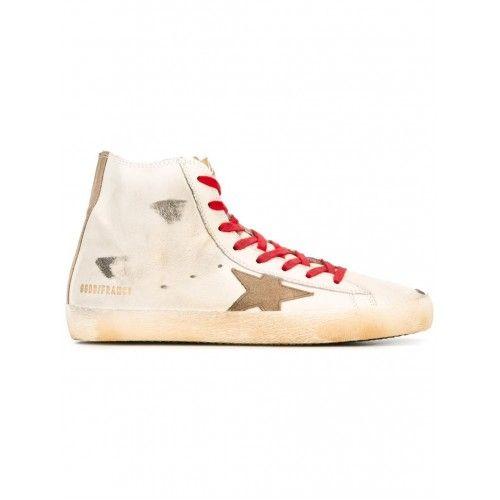 Soldes Golden Goose DB Homme Francy Hi-Top Sneakers Blanc Calf Leather Rouge