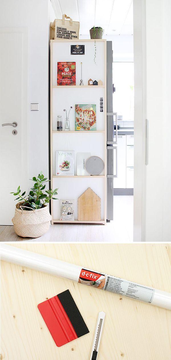 Do it yourself: Regal für die Küche aus Holz und Klebefolie
