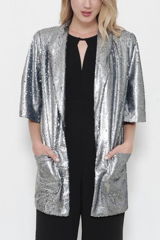 Silver Sequin Tunic Blazer