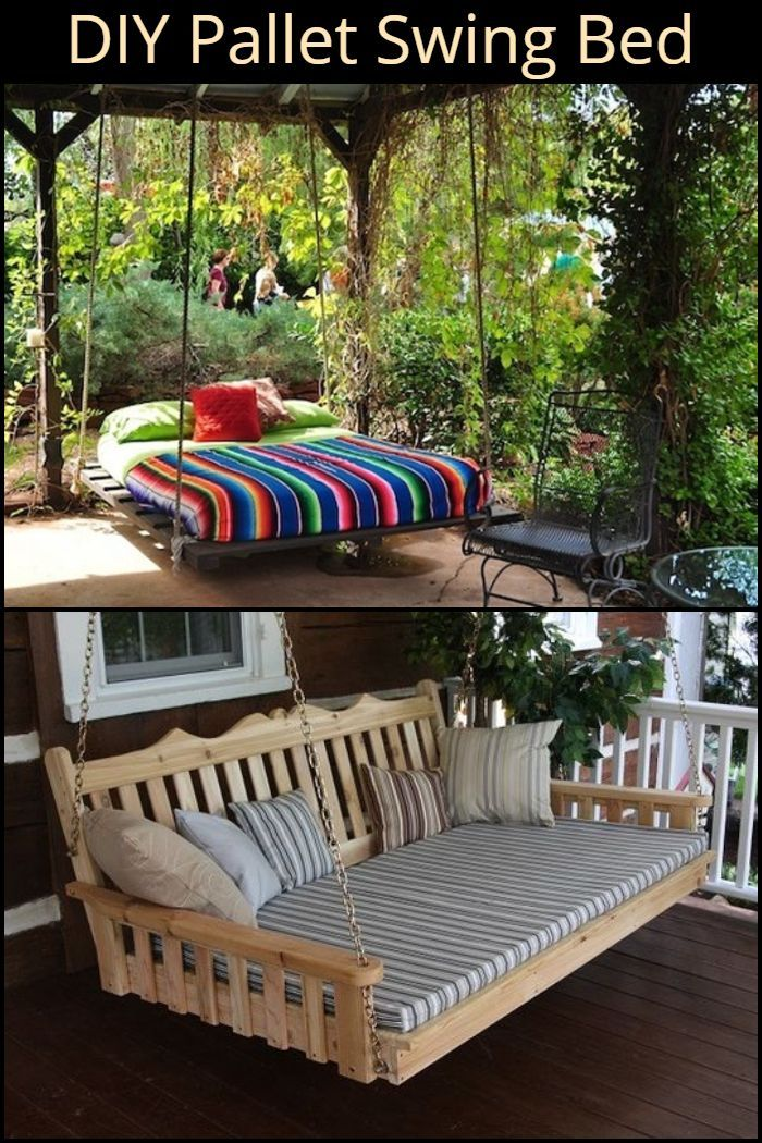 Diy Pallet Swing Bed With Images Pallet Swing Beds Pallet