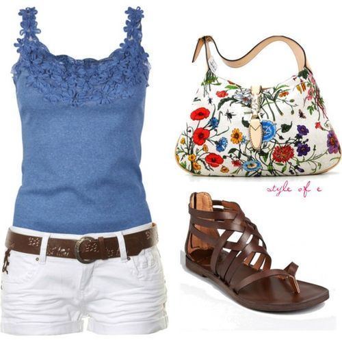 Blue: Shoes, Summer Fashion, White Shorts, Dreams Closet, Style, Shirts, Cute Outfits, Cute Summer Outfits, Flowers Pur