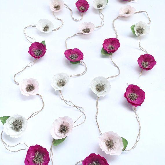 Boho Paper Flower Garland-Crepe Paper Flower by SophiaandRoseCo