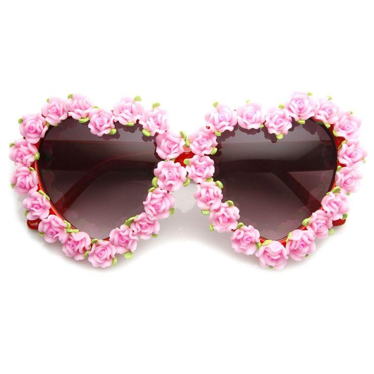 Womens Heart Shaped Flower Adorned Oversize Sunglasses 9197 from zeroUV