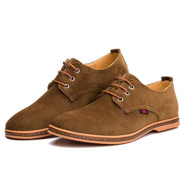 US Size 6.5-11 Men Casual Soft Comfortable Fashion Flat Oxford Suede Lace Up Sho - US$38.62