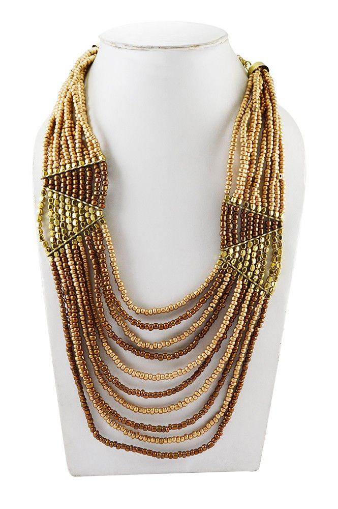 Adbeni+Copper+Coloured+Glass+Beads+Handcraft+Necklace-ADB-022+Price+₹495.00