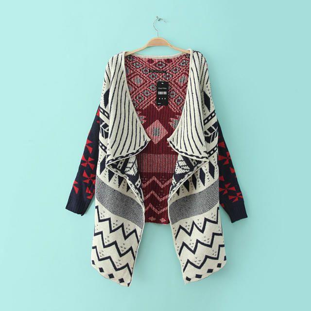 Sweaters Fall Winter Women Geometric pattern Tribal Cardigan Draped Long Sleeve Aztec Sweater Knit Long Kimono Cardigan