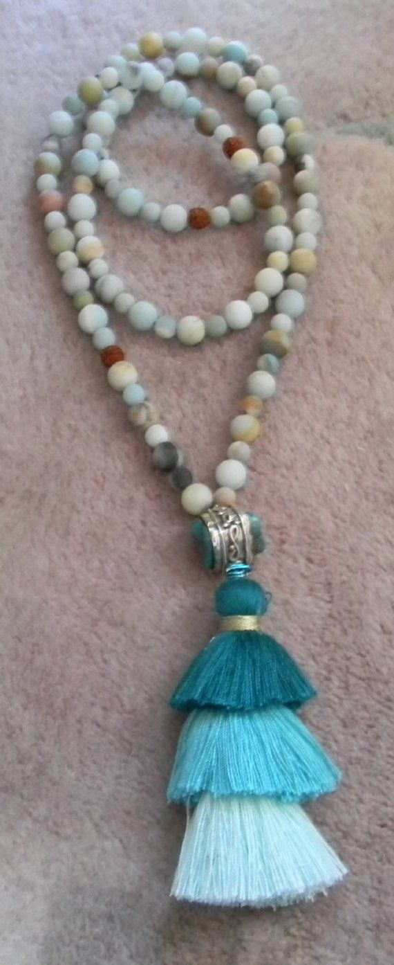 Mala Beads Matt Amazonite Mala Chakra Mala Rudraksha Beads