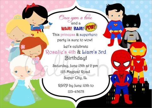 Twin+/+joint+birthday+party+invitation+for+your+boy/girl+in+famous+princesses+(Elsa,+Cinderella,+Ariel,+Snow+White)+and+superheroes+(Spiderman,+Superman,+Batman,+Iron+Man)+theme.  You+will+receive+a+PERSONALIZED+5+x+7+printable+invitation+in+ONE+of+the+following+format:++ *+JPEG+(default)+-+fo...