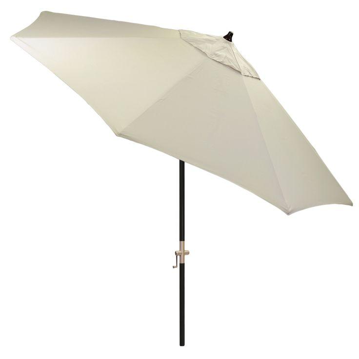 9' Round Sunbrella Umbrella - Canvas - Black Pole - Smith & Hawken