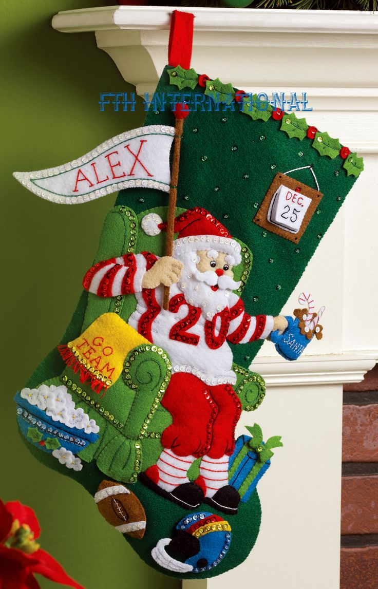 "Ultimate Fan 18"" Bucilla Felt Christmas Stocking Kit #86504 - FTH Studio International"