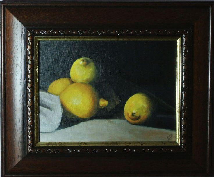Lemon Still Life Painting, Framed and Ready to Hang Wall Decor, Original Artwork #Realism