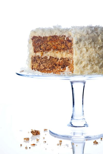 Walnut Carrot Cake with Coconut Cream Cheese Frosting Recipe - Saveur.com    Convert this recipe to grain-free simply by substituting arrowroot powder for the cornstarch.  Easy!