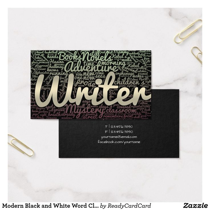 12 best writer business cards images on pinterest business cards modern black and white word cloud writers authors business card reheart Images
