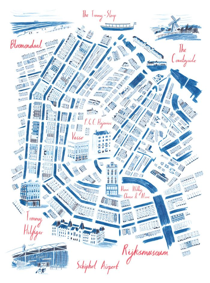 William Grill, Map of Amsterdam. Editorial for Swiss lifestyle magazine - Die Weltwoche