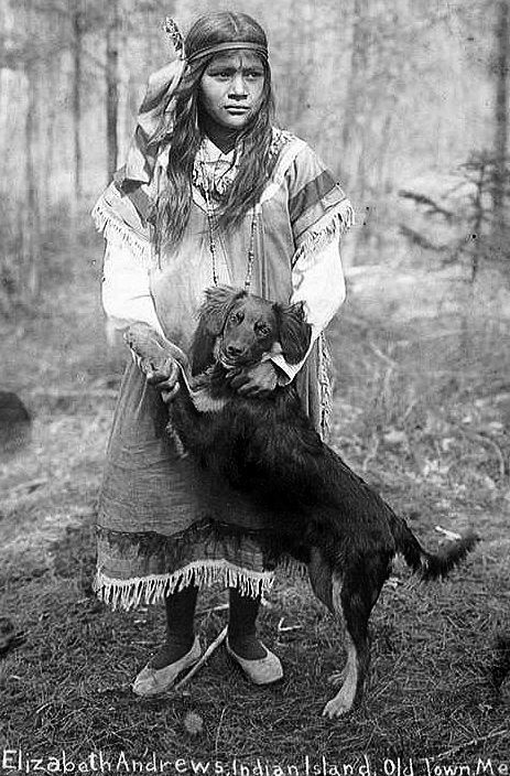 Postcard Penobscot Indian with her Dog, Old Town, Maine.