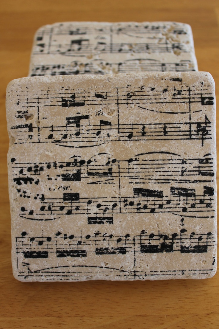 COASTERS Vintage Sheet Music Set Of 4 Italian Stone Coasters Wedding Favors