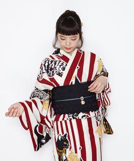 Cute retro modern women's yukata yukata yukata kimono kimono woman classy adult essence Festival Festival cat pattern stripes striped Crown cat