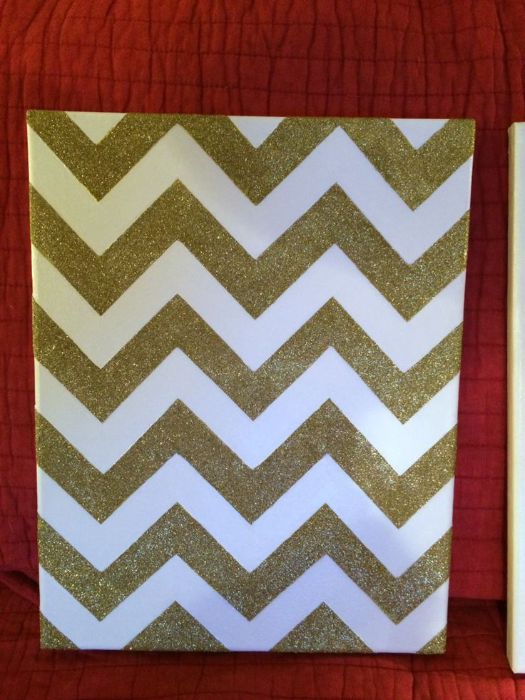 White and gold glitter chevron canvas wall art.