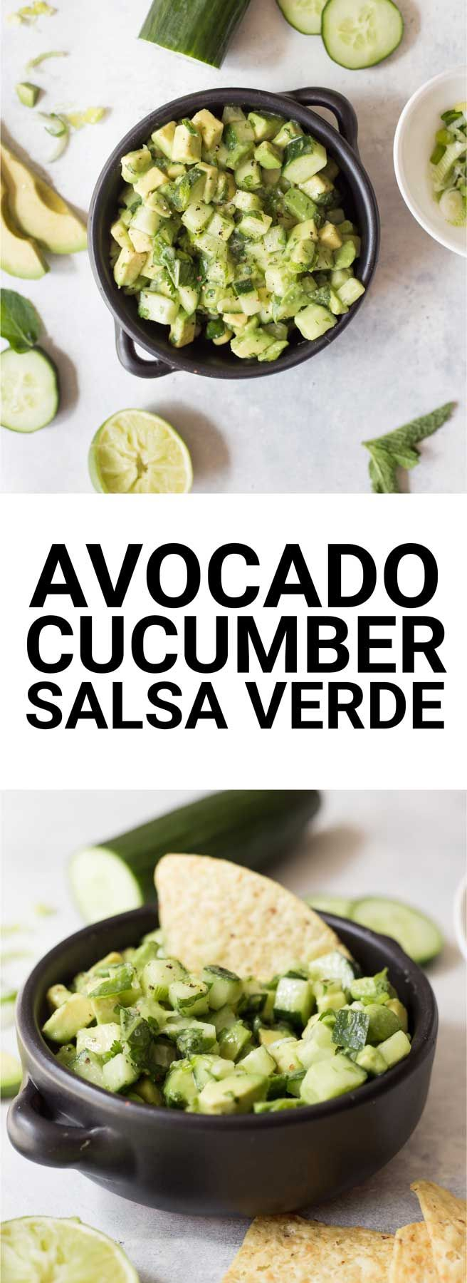Avocado Cucumber Salsa Verde: An easy, fresh, and raw salsa verde made without tomatillos! Made with summery ingredients like mint, cilantro, avocado, cucumber, and lime! || fooduzzi.com recipe